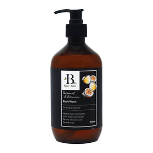 BARE FOR BARE BODY WASH 500ML - BERGAMOT & GERANIUM (BTL)