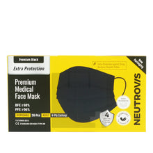 Load image into Gallery viewer, NEUTROVIS MEDICAL FACE MASK 4 PLY EARLOOP - PREMIUM BLACK (50S - BOX)