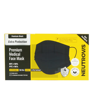 NEUTROVIS MEDICAL FACE MASK 4 PLY EARLOOP - PREMIUM BLACK (50S - BOX)