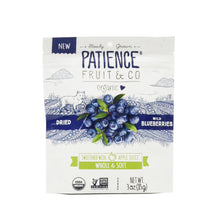 Load image into Gallery viewer, PATIENCE DRIED WILD BLUEBERRIES SWEETENED WITH APPLE JUICE 85G (PACK)