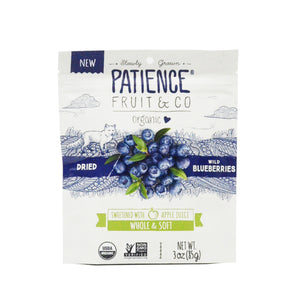 PATIENCE DRIED WILD BLUEBERRIES SWEETENED WITH APPLE JUICE 85G (PACK)