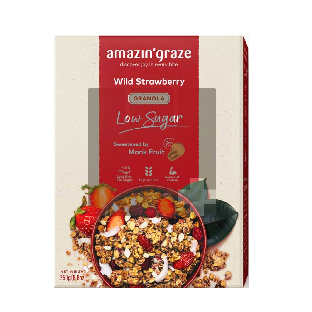 AMAZIN' GRAZE LOW SUGAR WILD STRAWBERRY GRANOLA 250G (PACK)