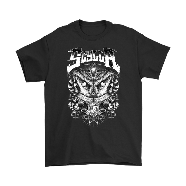 Owl White on Black Tee