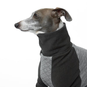 Kuvfur-dog-pajamas-onesie-quilted-grey-turtle-neck