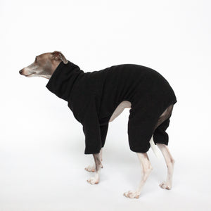 italian greyhound standing in kuvfur fleece black dog onesie