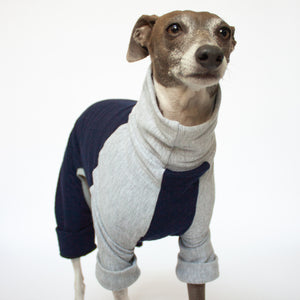 quilted dog pajamas navy blue and grey with folded up leg cuffs