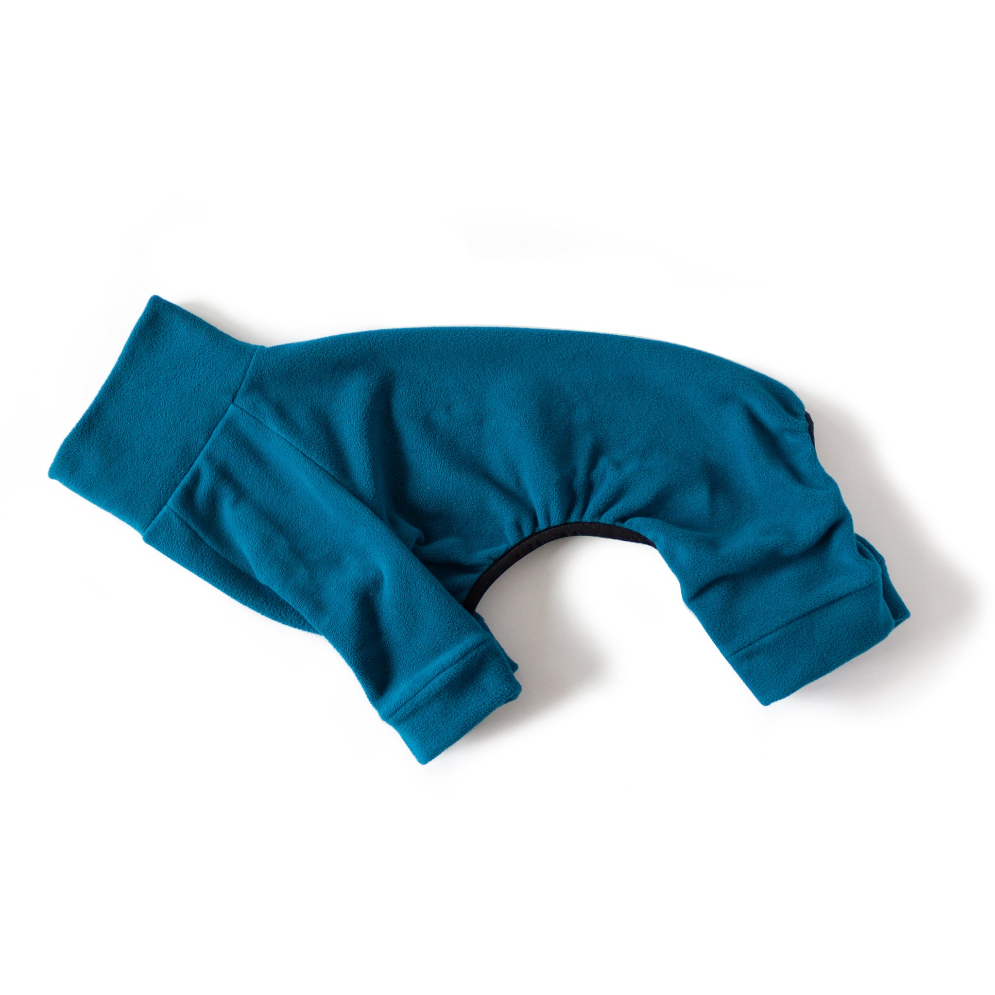 fleece dog pajamas in teal turquois
