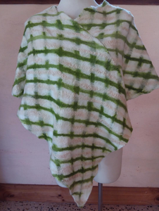 NUNO Felted Poncho Green Stripes