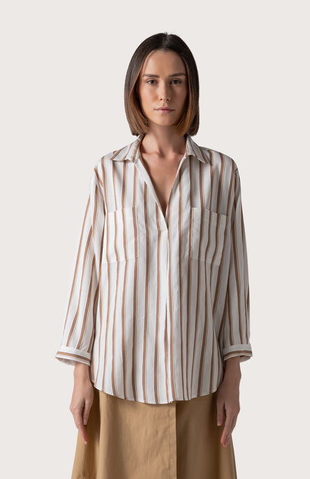 CAMICIA IN VISCOSA E SETA RIGHE