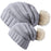 Parent-Child Slouchy Knit Hat,Family Baggy Hat with Pom Pom,2 Pcs,Grey