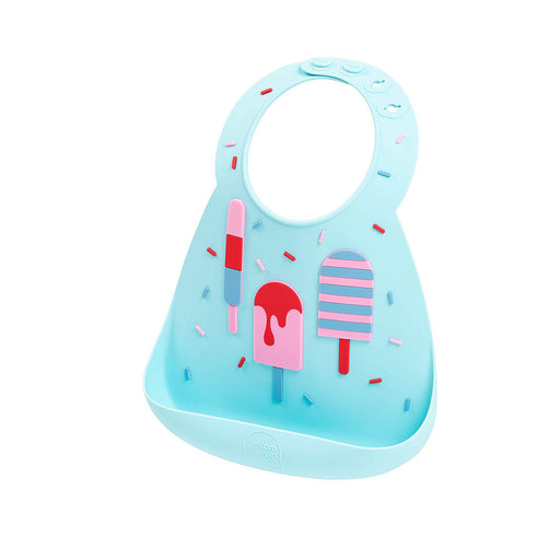 Silicone Baby Bib, Waterproof Adjustable Baby Bibs with Food Catcher Pocket, Ice Cream Pattern