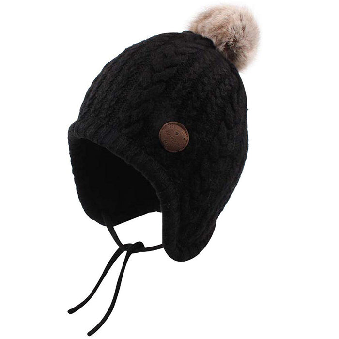 Crochet Baby Beanie Ear Flaps Polyester Lined Hat, Black
