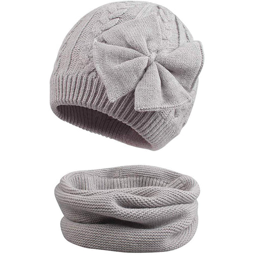 Cute Bow Knitted Baby Hat with Scarf Cotton Lined for Girl, Grey