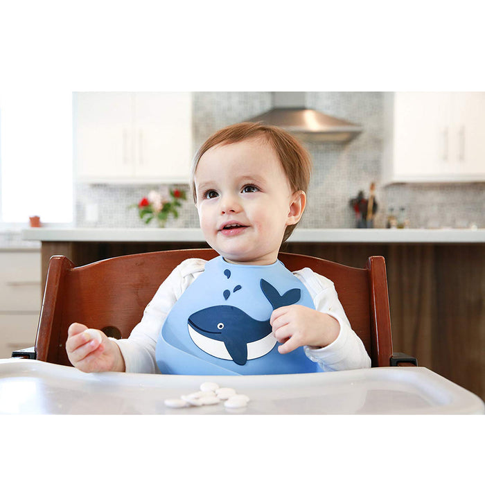 Silicone Baby Bib,Waterproof Adjustable Bibs with Food Catcher Pocket, Whale Pattern