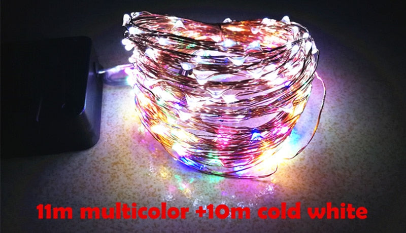 LED Outdoor Solar Lamps 100/200 LEDs String Lights Fairy Holiday Christmas Party Garland Solar Garden Waterproof Lights 11m 21m