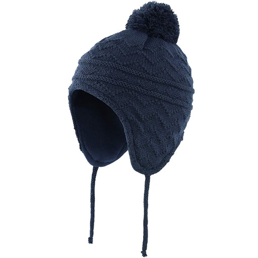 Fleece Lined Knit Kids Hat with Earflap Winter Hat for Toddler, Dark Blue