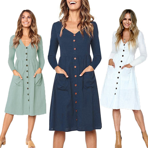 Women Dress Ladies Long Sleeve Pocket Buttons V Neck Casual Dress