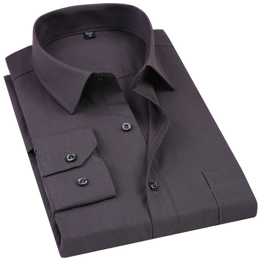 Men's Dress Shirt Solid Color Plus Size5XL Chemise Homme Male Business Casual Long Sleeved Shirt