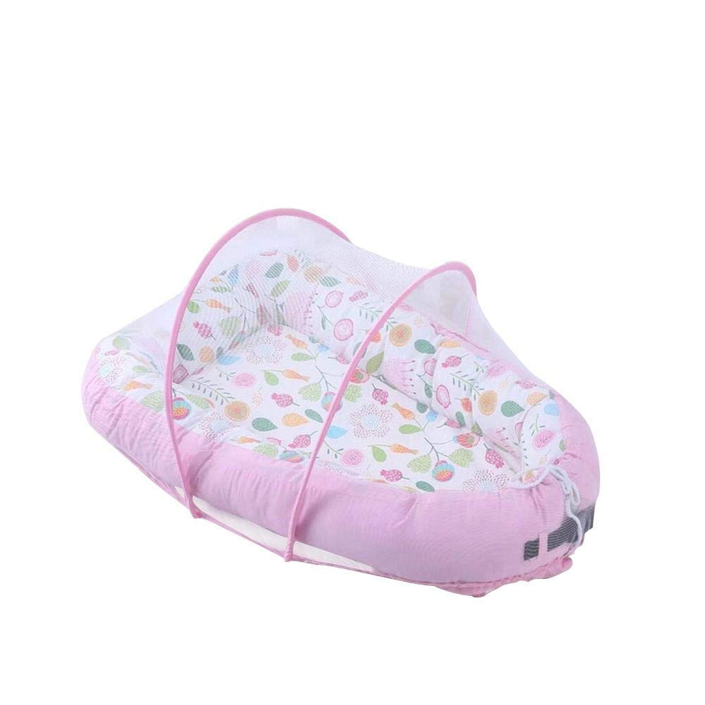 Newborn Lounger, Infants Bassinet for Bed Lounger with Mosquito Net, Pink