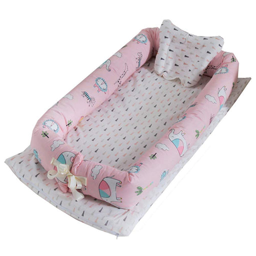 Baby Lounger, Pink Animals Printed Baby Lounger Cotton Breathable Portable Baby Crib