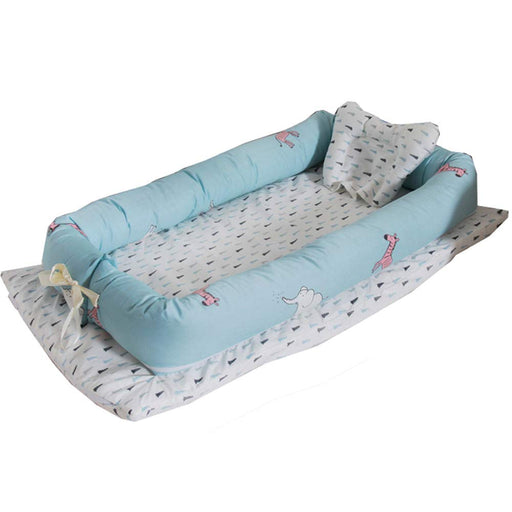 Baby Lounger, Blue Animals Printed Baby Lounger Cotton Breathable Portable Baby Crib