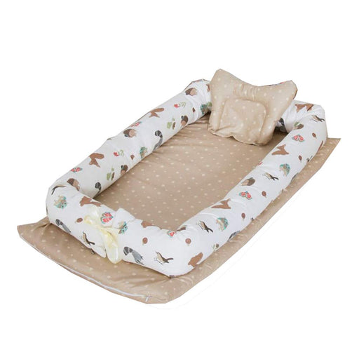 Baby Lounger, Brown Animals Printed Baby Lounger Cotton Breathable Portable Baby Crib