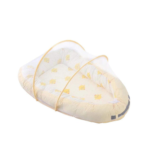Newborn Lounger, Infants Bassinet for Bed Lounger with Mosquito Net, Yellow