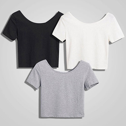 Women  Crop Tops Short Sleeve Bare Midriff Casual Blouse T-Shirt
