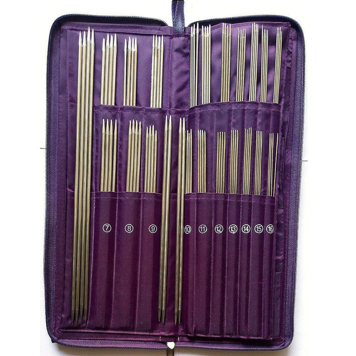 Stainless Steel Straight Circular Knitting  Needles Crochet Hook Weave Set with Purple Bag 104pcs