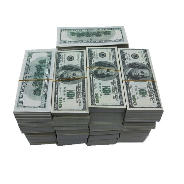 Prop Money $100 Total $10000Full Print Stack for Movie TV Video Novelty and  Photography 100PCS