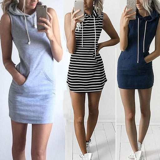 Mini Dress Sexy Women Boho Hooded Bodycon Sleeveless Sexy Party Cocktail