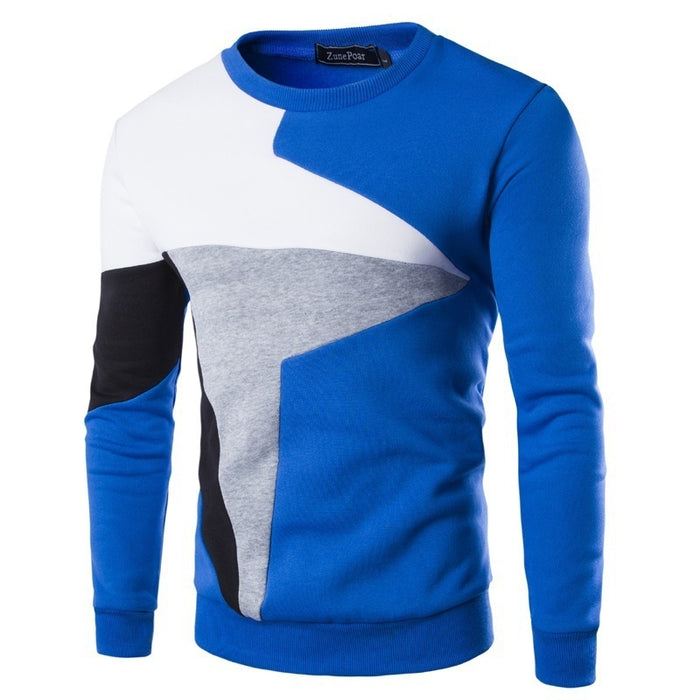 Men's Casual Long-sleeved Wind Hit The Color Stitching Hedging Sweater