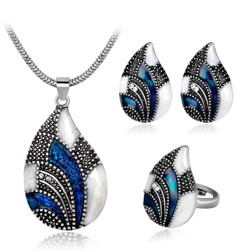Long Pendent Necklace Shell Shape Stud Earrings Deligant Ring For Women Wedding Jewelry Sets
