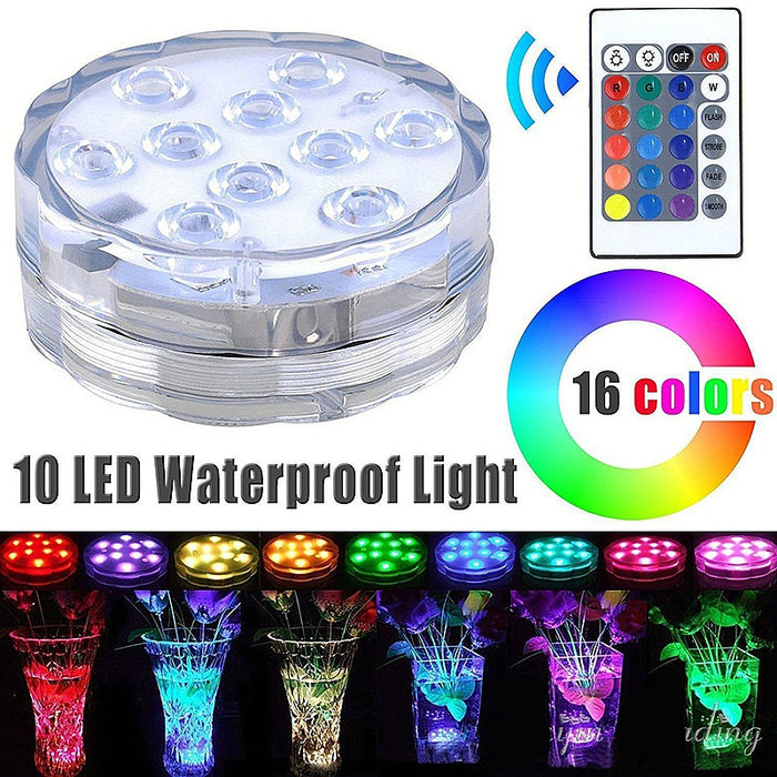 Submersible Light Battery Operated Underwater Night Lamp Vase Bowl Outdoor Garden Party Decoration 10 Led