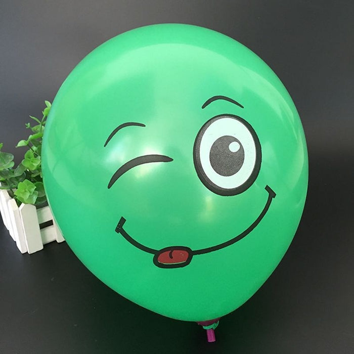 Latex Balloons Cute Printed Big Eyes Smiley   Happy Birthday Party 20pcs/lot