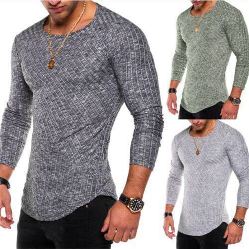 Men Long Sleeve Fashion Slim Bodycon Casual Street Style T Shirt Top