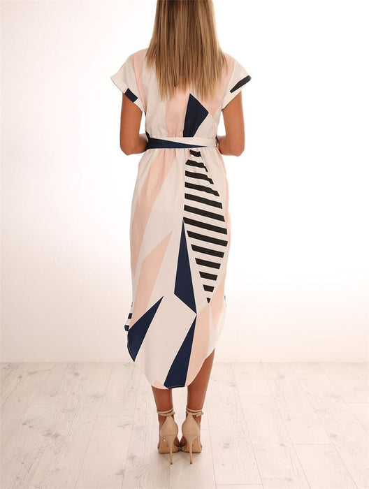 V-Neck Collect Waist Dress Sexy Print Plus Size Fishtail Irregular Solid High Waist Package Hip Ruffle Long Dress