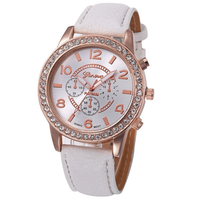 Leather Geneva Watches Women Dress Quartz Roman Style Leather Wristwatch Hot Sale Lady Watches