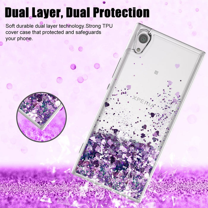Sony Phone Case Fashion Cute Glitter Liquid Quicksand Clear Soft TPU Protective Cover