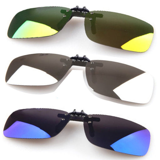 Sunglasses Glasses Polarized Mirrored UV400 Lens Clip-on Flip-up