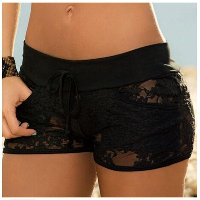 Sexy Short Pants Black Lace Hollow Out Summer Woman Short Pants