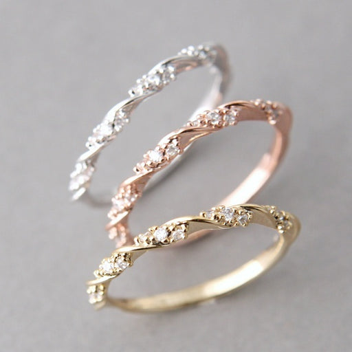 Women's Exquisite Thin Twisted Rhinestone Ring 14K Gold Gift Ring Diamond CZ Elegant Single Ribbo