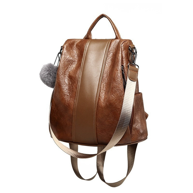 Leather Backpack Women Backpacks Leather Fashion Backpack Luxury Brown Ball Sac A Dos Femme Anti Thief Bag