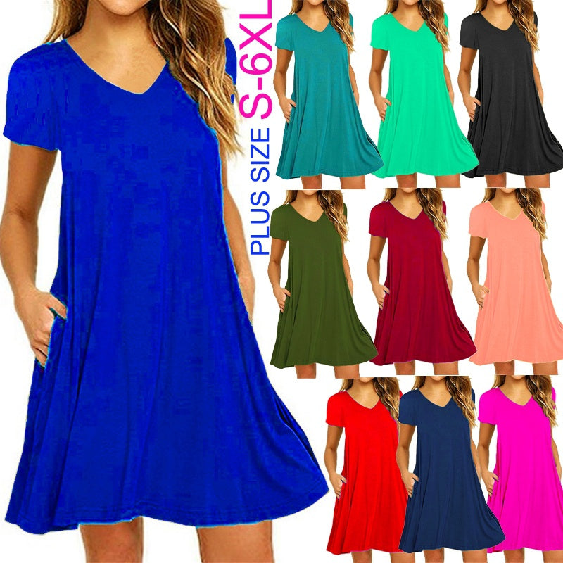 Tunics T-shirt Dress Casual Short Sleeve Slim Fit Beach Wear Dress with Pockets Sexy V-neck Plus Size Ruffles Party Mini Dress Ladies Fashion Loose Solid Color Pleated Cotton Dress