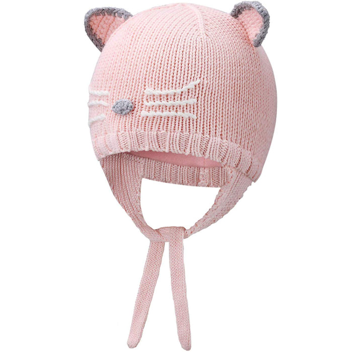 Lovely Cat Baby Knit Hat Winter Warmer Beanie, Pink