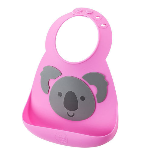 Silicone Baby Bib, Waterproof Adjustable Baby Bibs with Food Catcher Pocket, Koala Pattern
