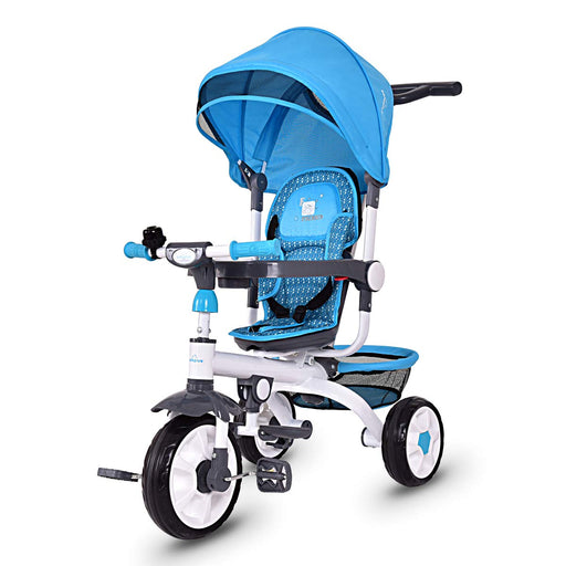 Kids Tricycle Steer Stroller with Canopy Foot Pedals, Blue