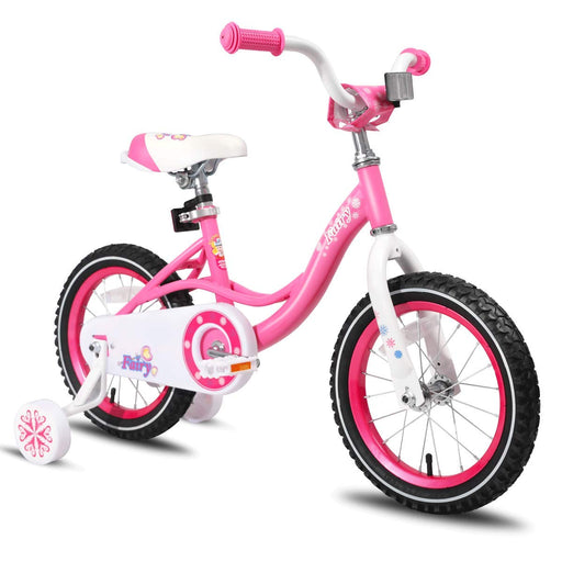 Kids Bike with Training Wheels 85% Assembled, Pink Fairy