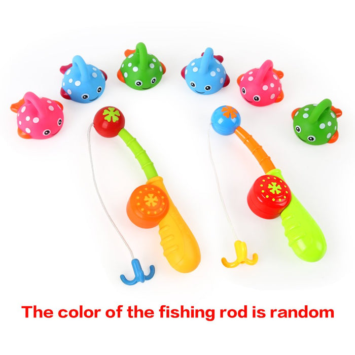 Bath Toys Fishing Game with Cute Spotted Fish Fishing Rod Preschool Water Toy