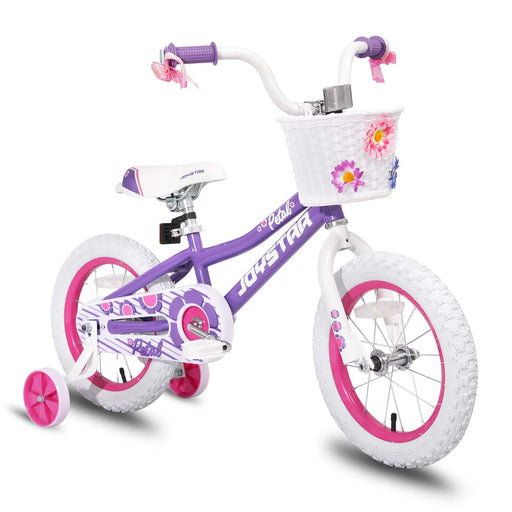 Kids Bike with Training Wheels 85% Assembled, Purple Petal